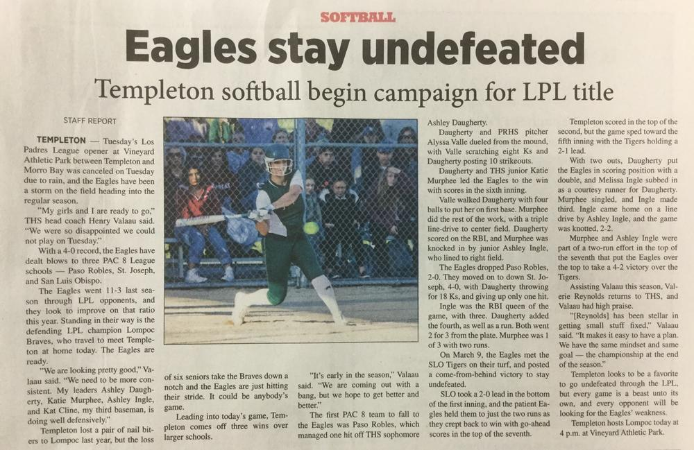 THS Softball article